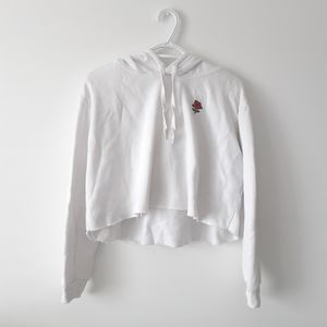 H&M Cropped Sweater Hoodie White